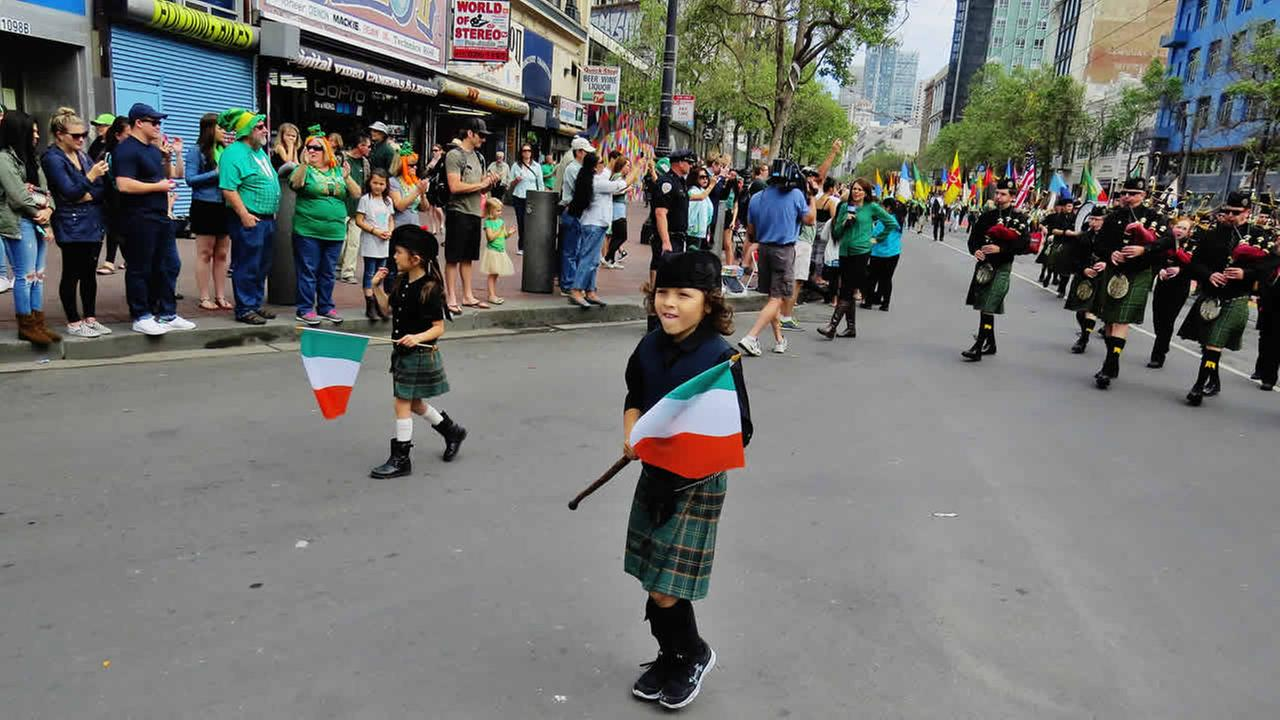 Thousands gathered in San Francisco to participate in and also watch the annual St. Patricks Day Parade in San Francisco on March 14, 2015.(Photo submitted by Marilyn via uReport)