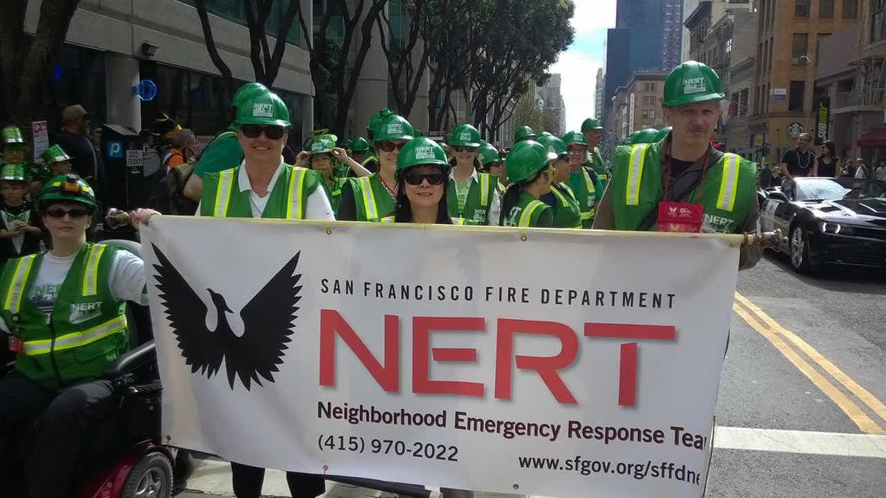 SFFDs Neighborhood Emergency Response Team (NERT) marched in the annual St. Patricks Day Parade in San Francisco on March 14, 2015.(Photo submitted by Roberta via uReport)