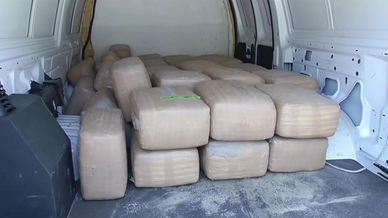 Bales of marijuana confiscated by federal agents at Pescadero State Beach in San Mateo County.
