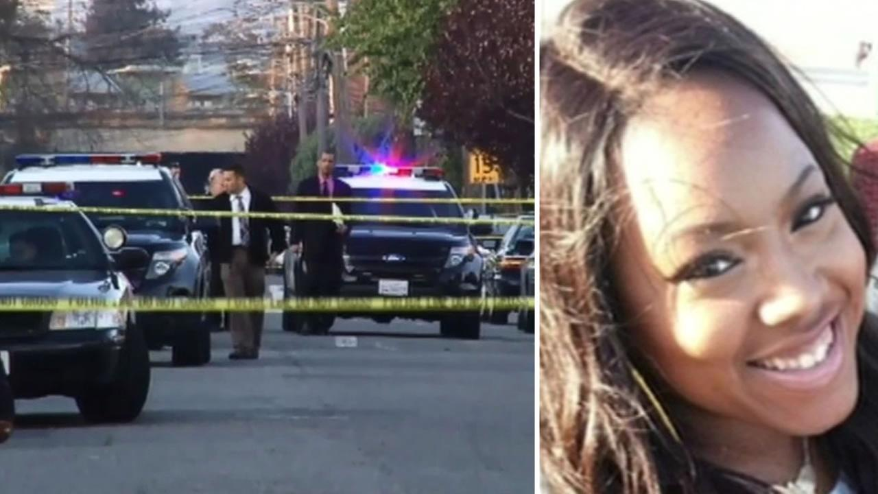 Police say Chyemil Pierce, 30, was killed while trying to protect her children during a gun battle in Oakland, Calif. on March 9, 2015.