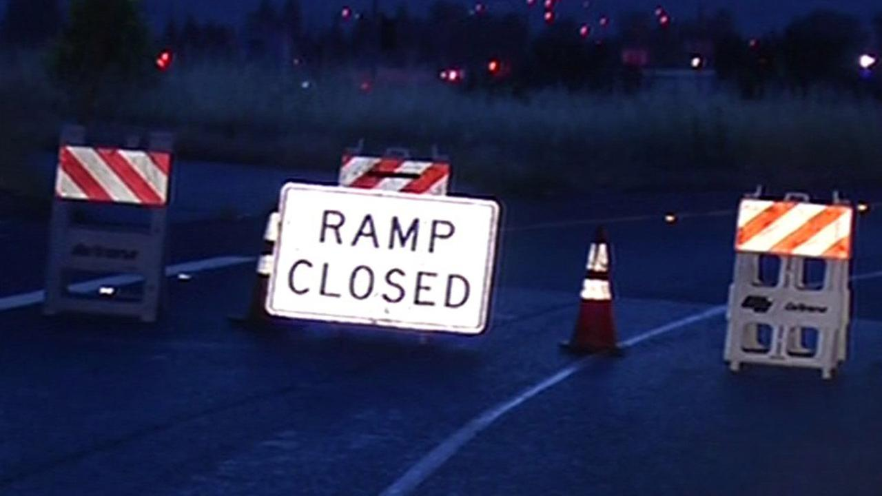 The connector ramp from northbound Interstate Highway 880 to southbound U.S. Highway 101 is closed in San Jose.