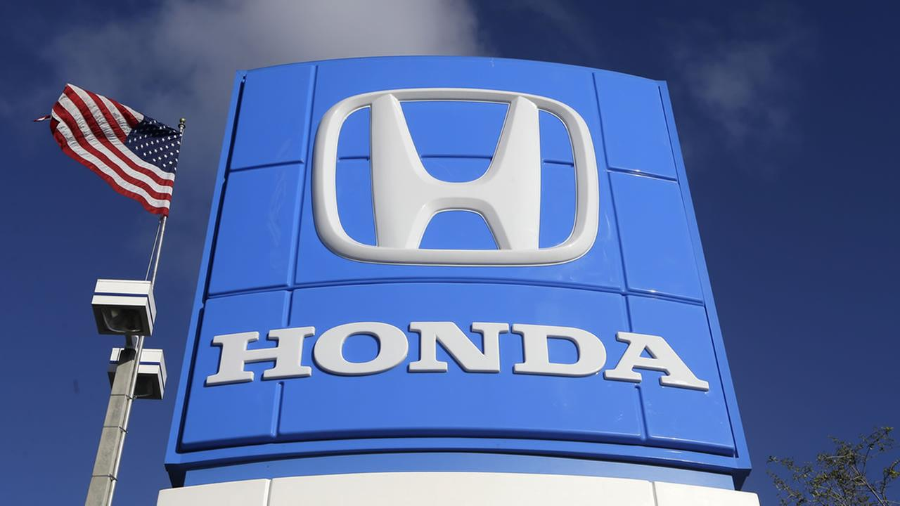 This photo taken Tuesday, Jan. 13, 2015 shows a sign at a Honda dealership in Miami Lakes, Fla.