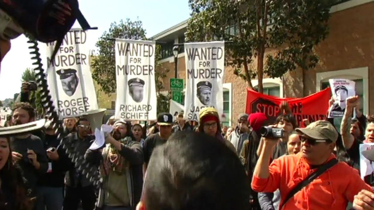 Protesters gathered in front of the Mission District police station in San Francisco to mark the one-year anniversary of the fatal shooting of Alex Nieto March 23, 2015.
