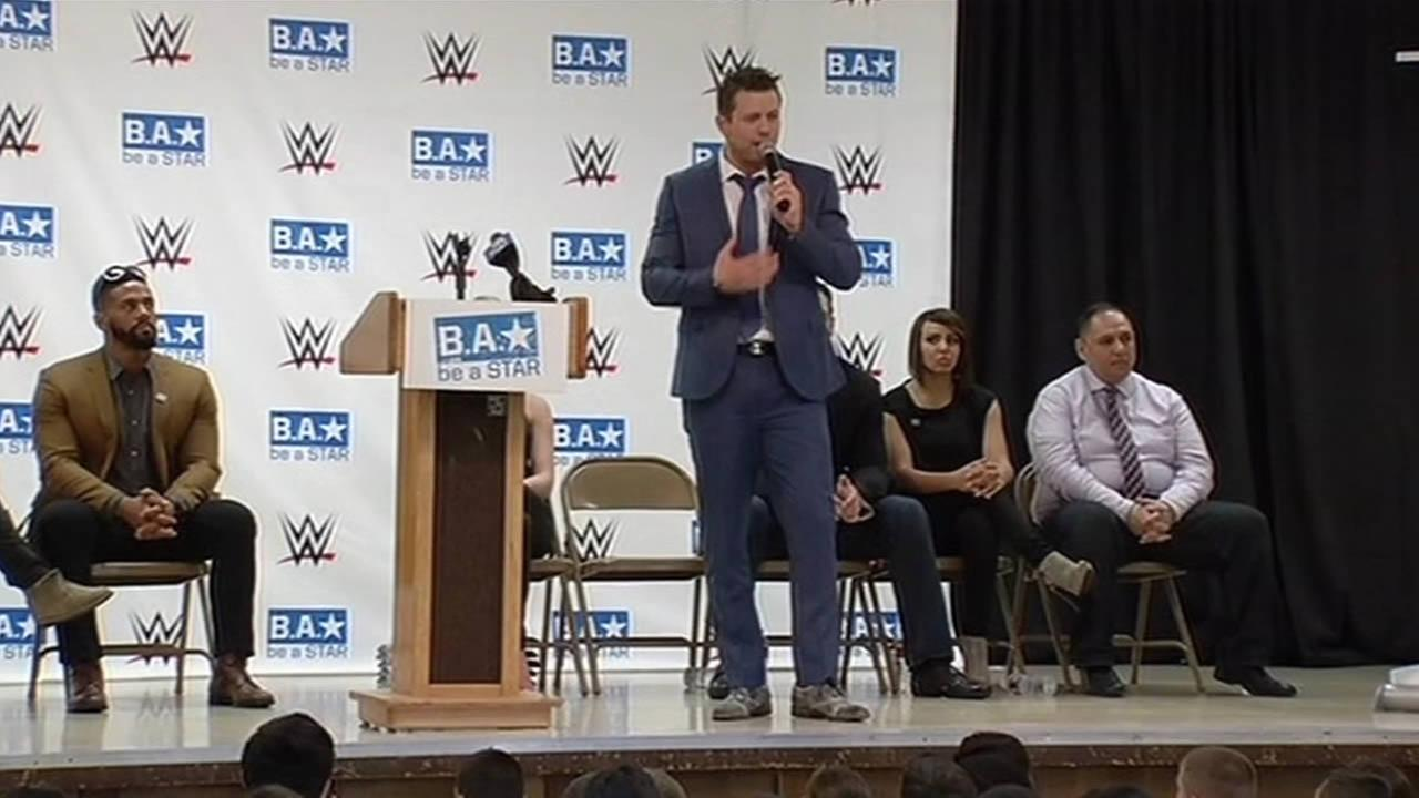 WWE star Mike The Miz Mizanin talked about bullying prevention at Joseph George Middle School in San Jose, Calif. on March 26, 2015.