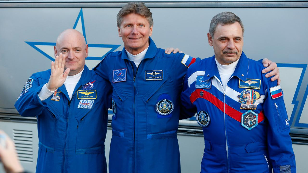From left: U.S. astronaut Scott Kelly, Russian cosmonauts Gennady Padalka and Mikhail Korniyenko, crew members of the mission to the International Space Station.
