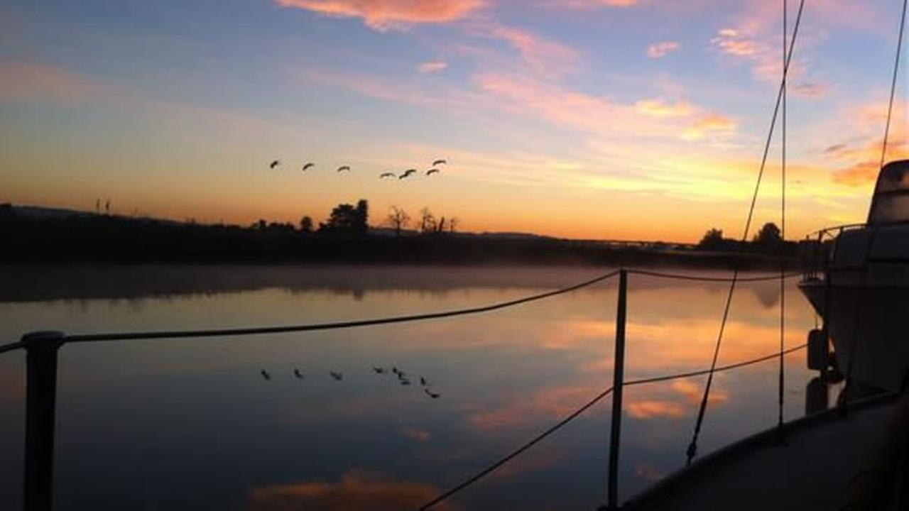 Sunrise from sailboat on the Petaluma River (Photo submitted by Rose W. via uReport)