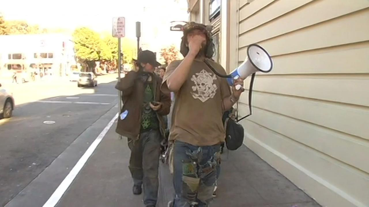 The homeless and their advocates protested the alleged beating of a homeless man by a Berkeley Ambassador by marching through the citys streets March 27, 2015.