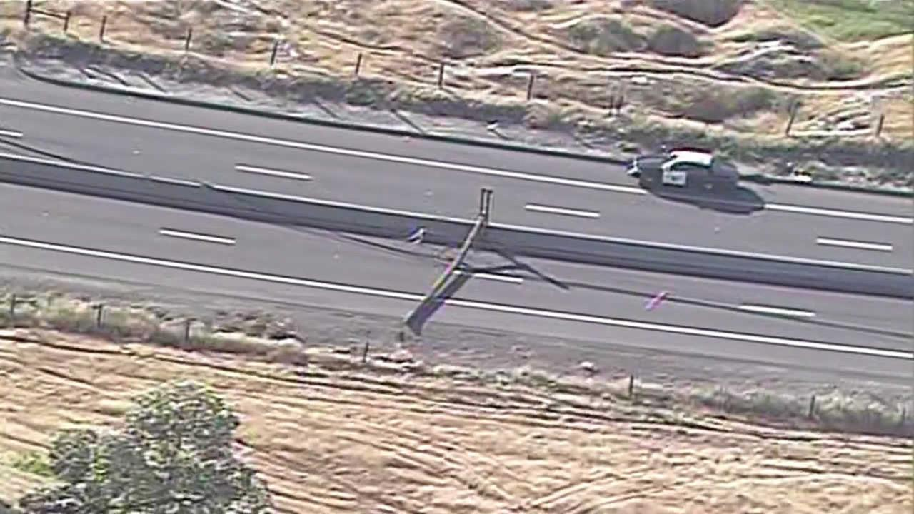 Car crashes into power pole and causes small fire on Kirker Pass Road near Pittsburg