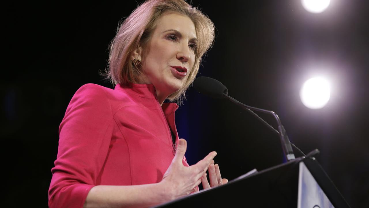 In this Jan. 24, 2015 file photo, former technology executive Carly Fiorina speaks during the Freedom Summit, in Des Moines, Iowa. (AP Photo/Charlie Neibergall, File)