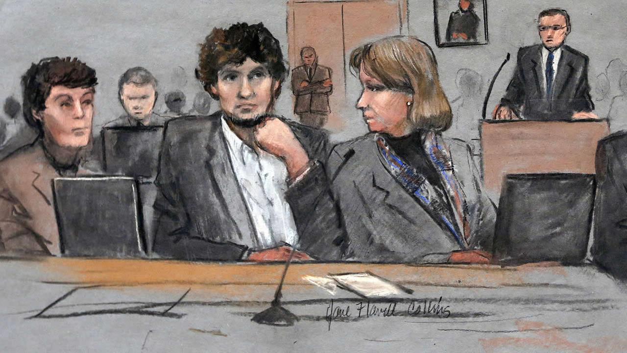 In this March 5, 2015 file courtroom sketch, Dzhokhar Tsarnaev is depicted between defense attorneys Miriam Conrad and Judy Clarke during his federal death. (AP Photo)