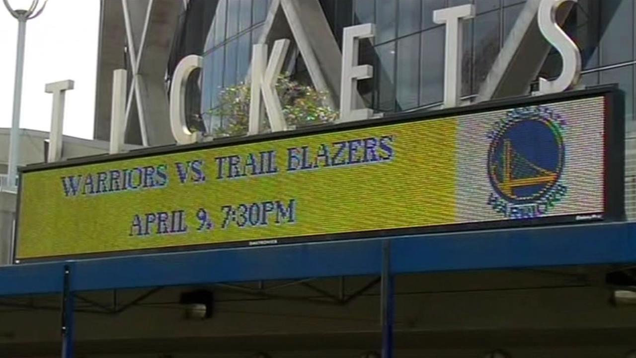 outside of Oracle Arena pictured March 30, 2015.