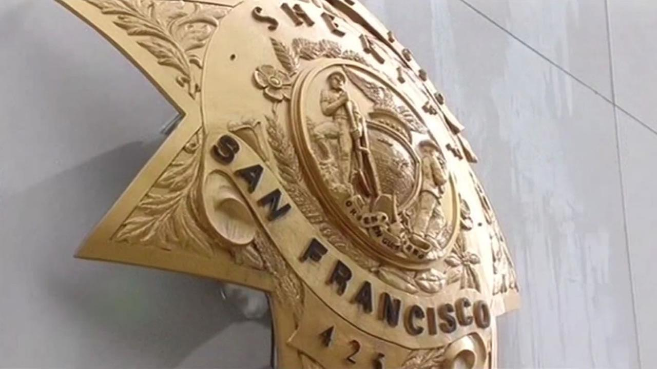 This undated image shows a badge outside the San Francisco Sheriffs Department.
