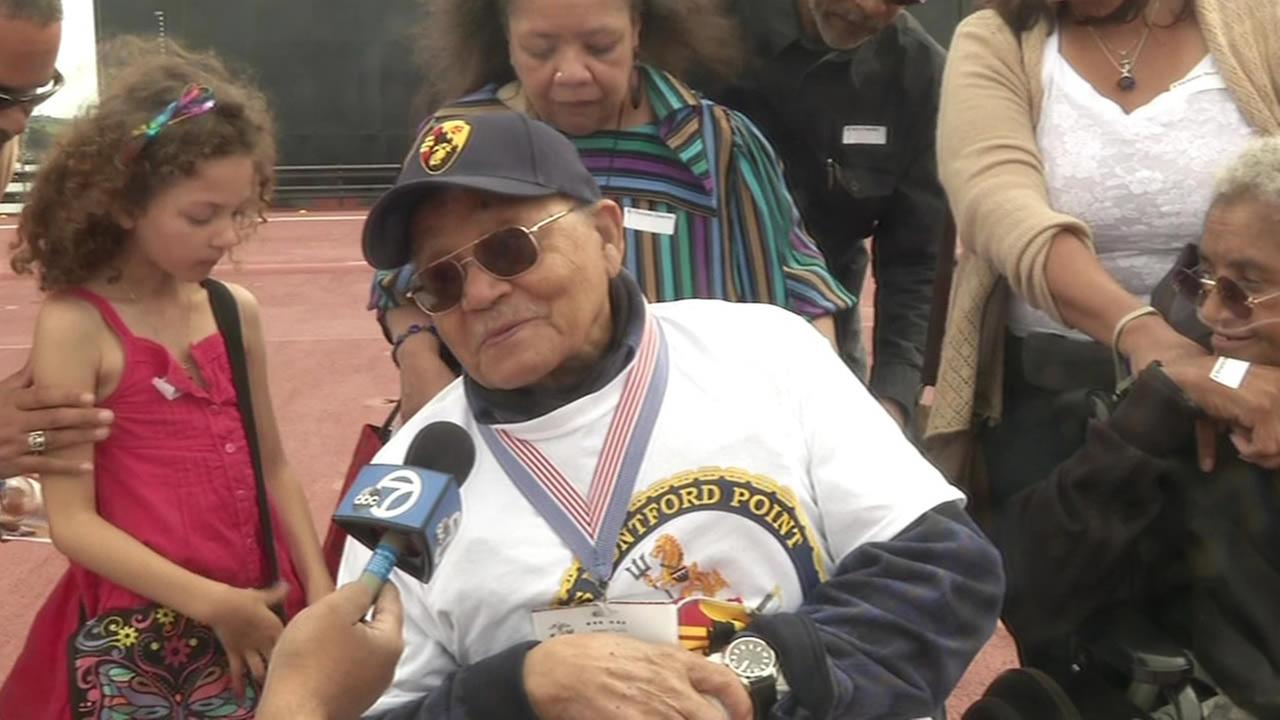 Montford Point Marine Luther Hendricks was honored in Vallejo, Calif. on March 15, 2015.