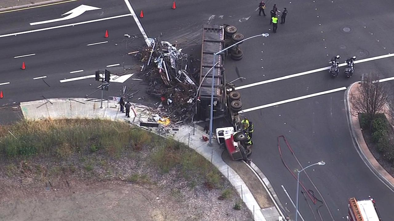 Overturned big-rig in Fremont.