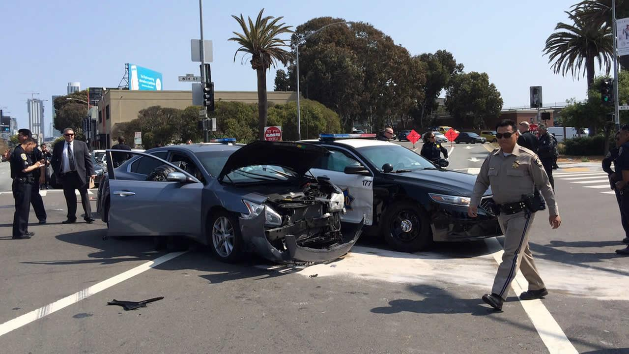 SFPD officer crashes with another car in South of Market area