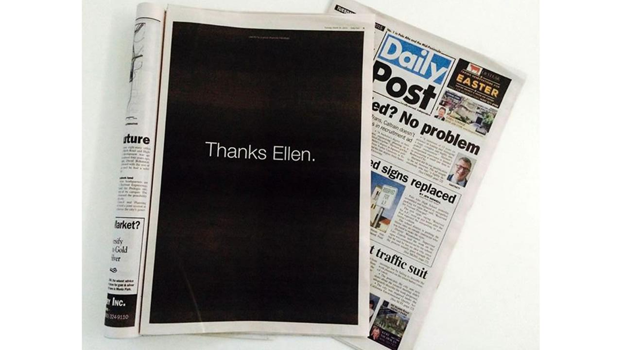 Thanks Ellen full page ad in the Palo Alto Daily Post on Tuesday, March 31, 2010 to thank Ellen Pao for bringing her gender bias case to court.
