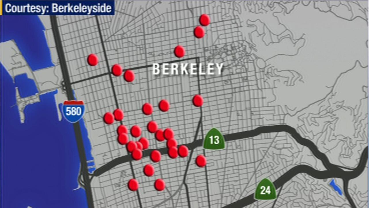 Map of reported Berkeley booms.