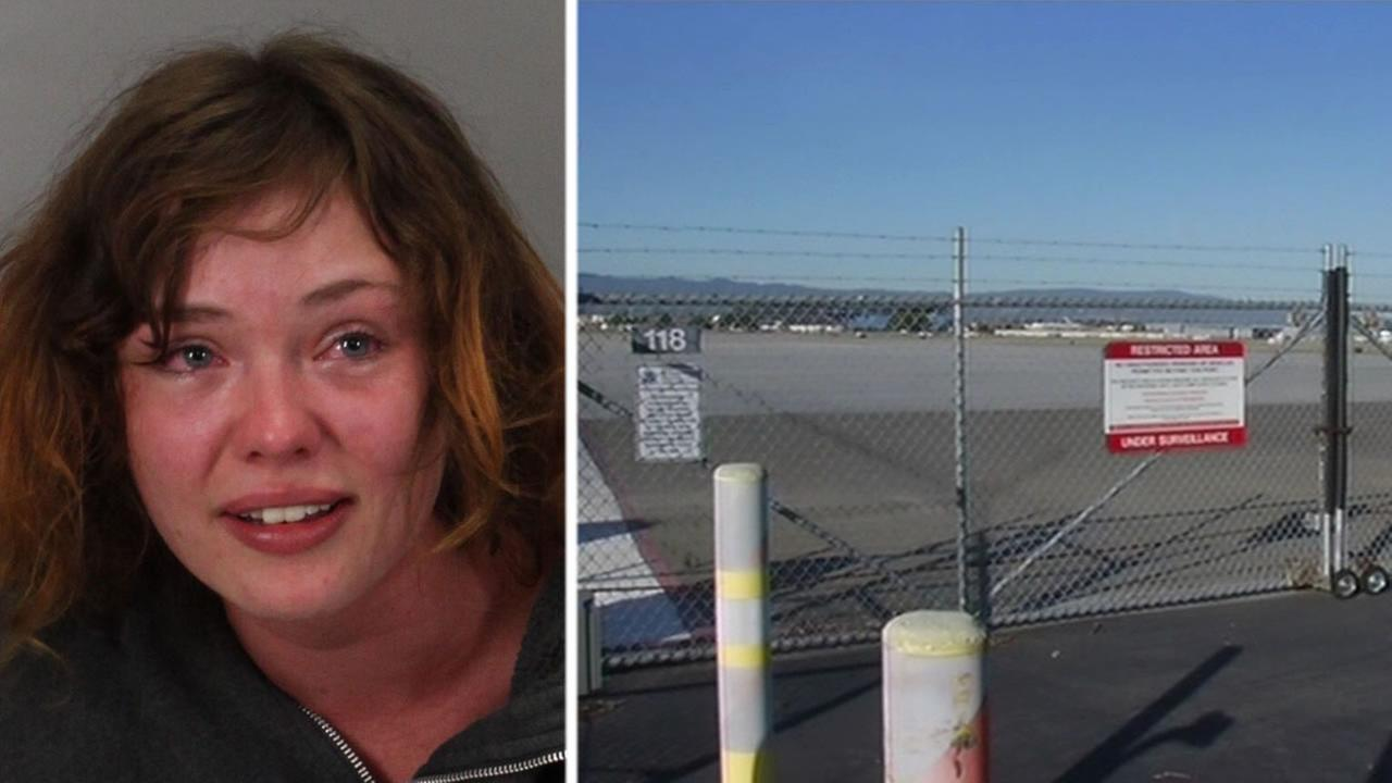 Police say Deanna Predoehl, 20, was arrested after she hopped a fence and walked onto the airfield at Mineta San Jose International Airport in San Jose, Calif. on March 31, 2015.