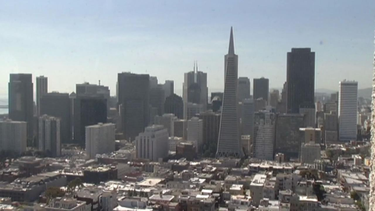 Beautiful view from the top of the newly reopened Coit Tower.