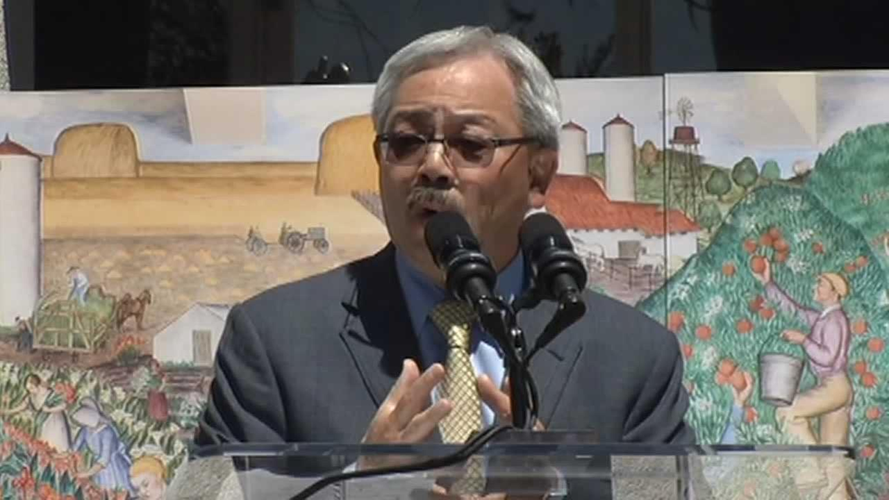 Mayor Ed Lee during the ceremony to celebrate the reopening of Coit Tower.