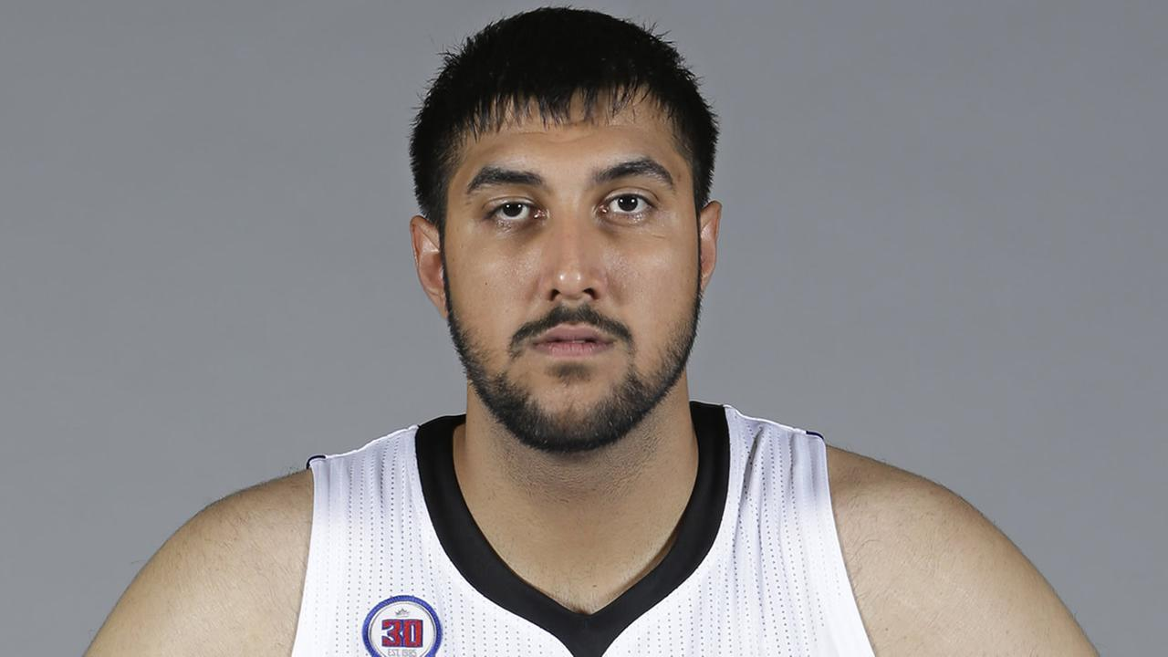 In this photo taken Sept. 26, 2014, is Sacramento Kings rookie center Sim Bhullar, from New Mexico State, at the Kings media day in Sacramento, Calif.(AP Photo/Rich Pedroncelli)