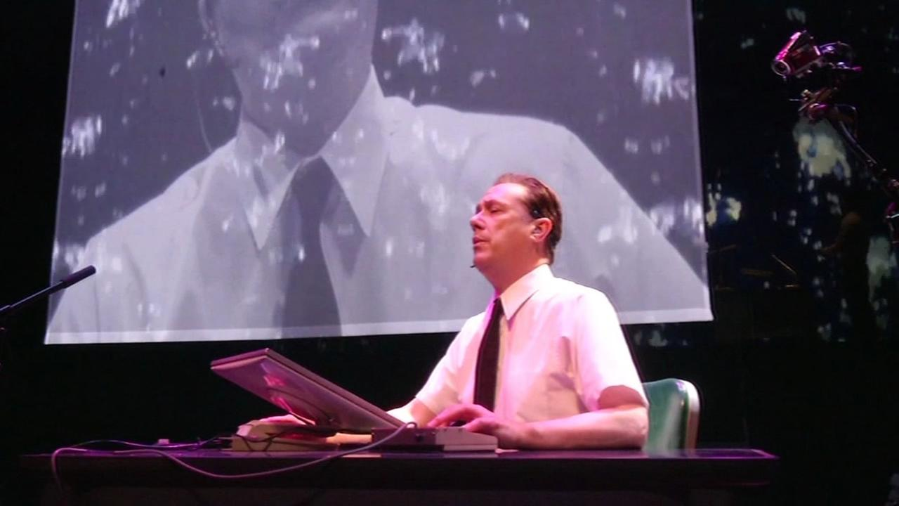 On April 1, 2015, Michael Rouse sings during practice for The Demo, an opera at Stanford University based on Douglas Engelbarts historic 1968 demo of early computer technology.