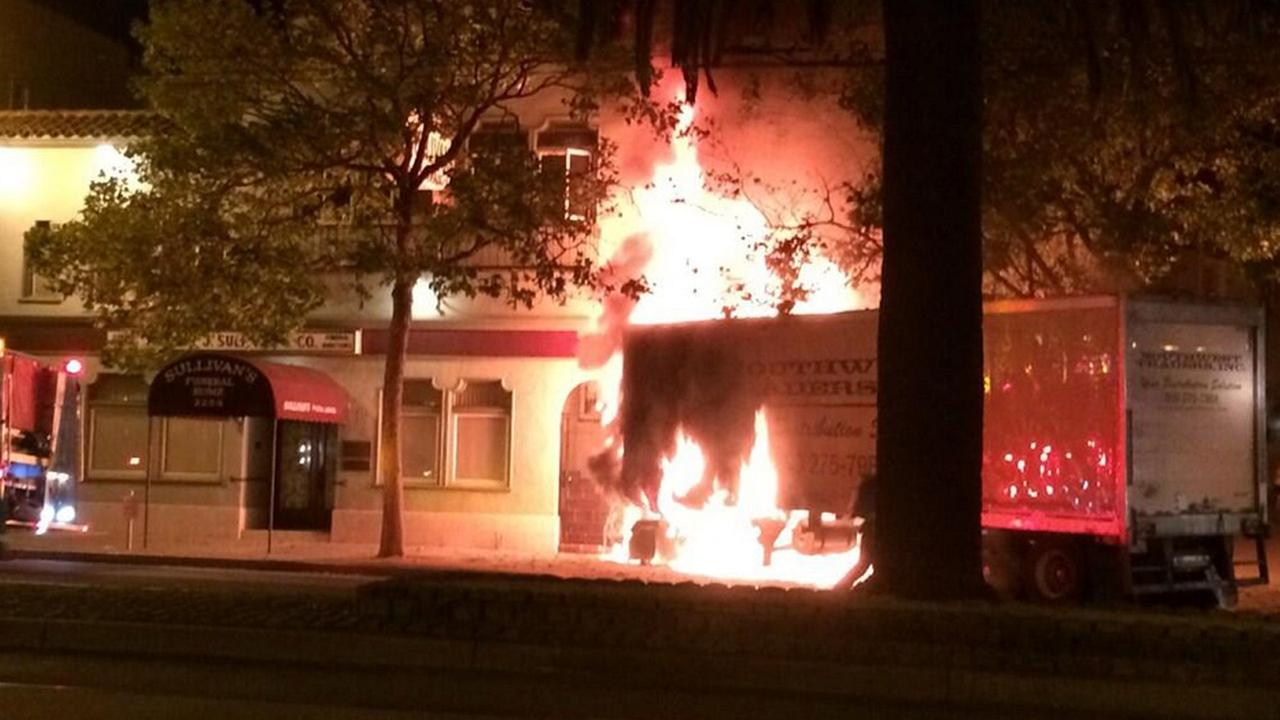 Big-rig accident causes fire in the Castro District (Courtesy Matt Oertli via Twitter)