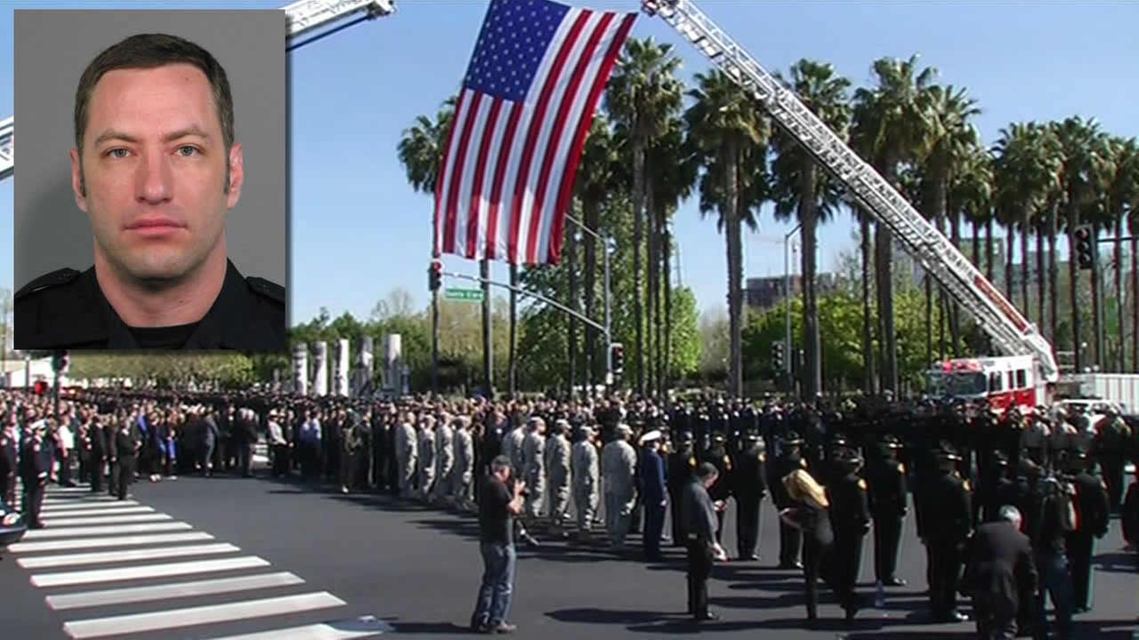 A memorial was held for fallen San Jose Police Officer Michael Johnson in San Jose, Calif. on April 2, 2015.