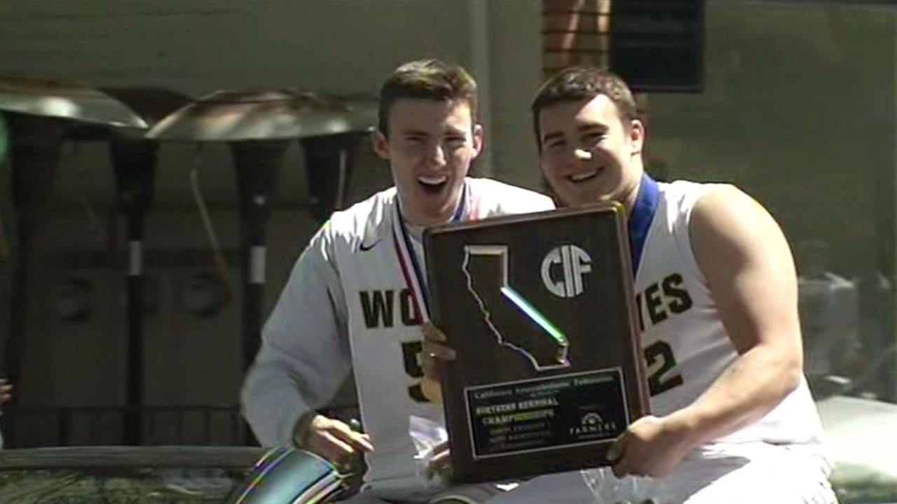 Danville celebrated the San Ramon Valley High School boys basketball teams big State Championship win with a parade on Thursday, April 2, 2015.