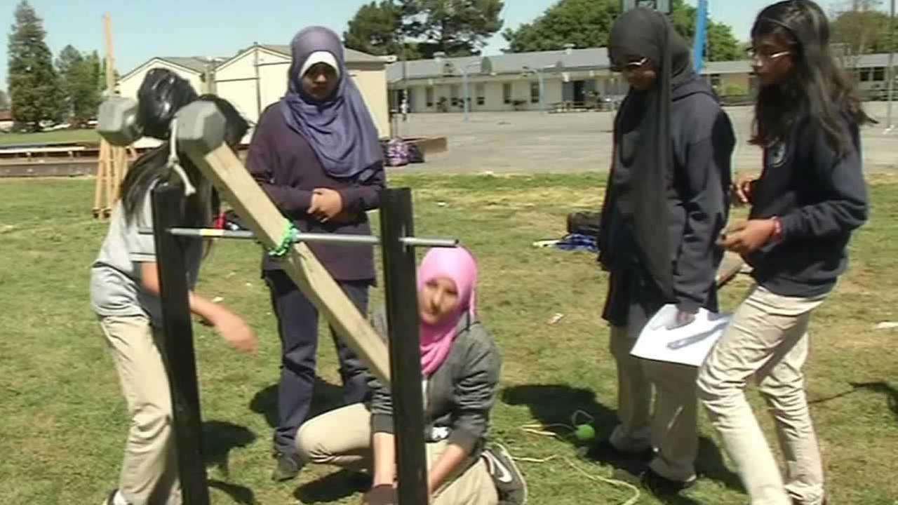 Magnolia Science Academy students participating in catapult competition
