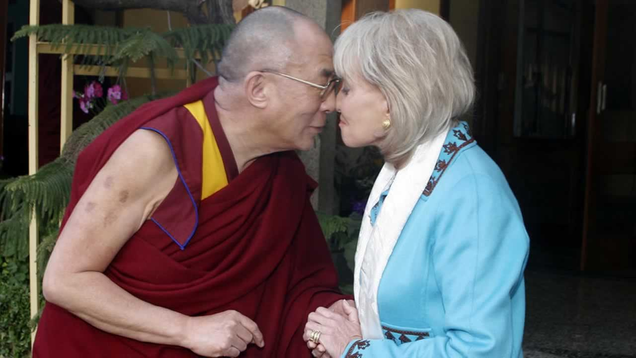 Barbara Walters interviews the Dalai Lama in India in 2005.ABC/ ROB WALLACE