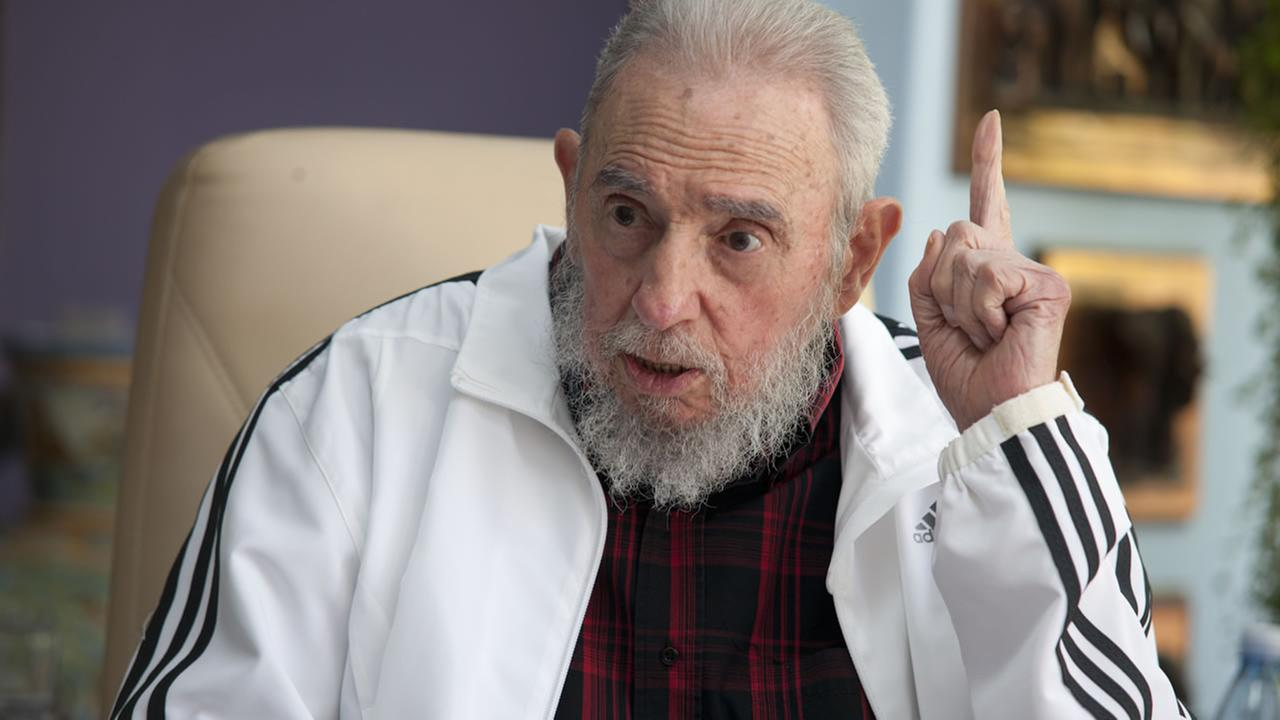 FILE - In this July 11, 2014 file photo, Cubas Fidel Castro speaks during a meeting with Russias President Vladimir Putin, in Havana, Cuba. (AP Photo/Alex Castro, File)