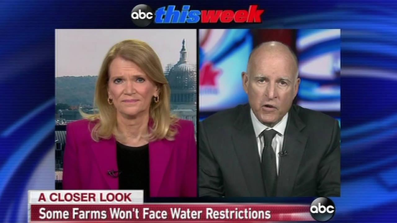 On ABCs This Week on April 5, 2015, Gov. Jerry Brown discussed the states water restrictions and why farmers are largely spared.