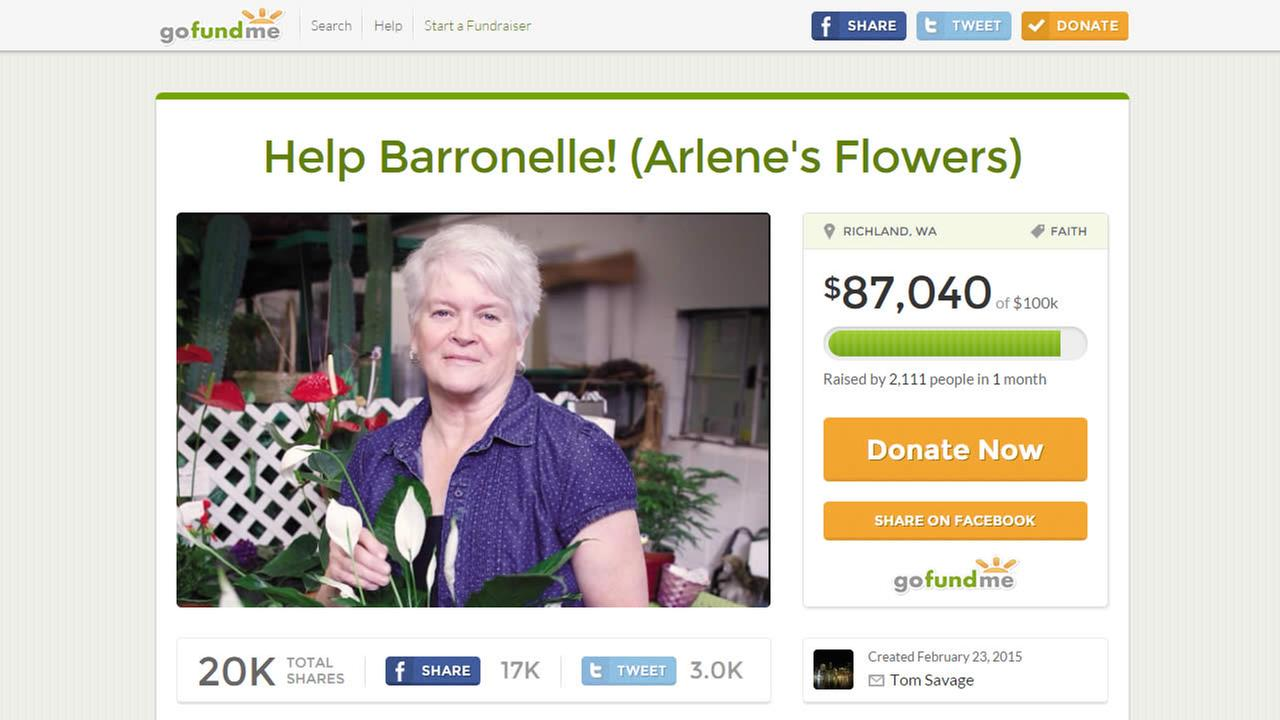 A crowdfunding campaign has been set up for a Washington florist who was fined for refusing to sell wedding flowers to a same-sex couple.