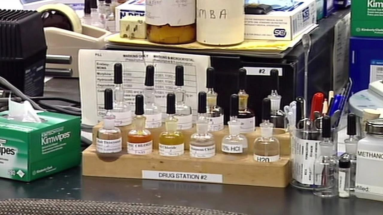 bottles in the San Francisco crime lab
