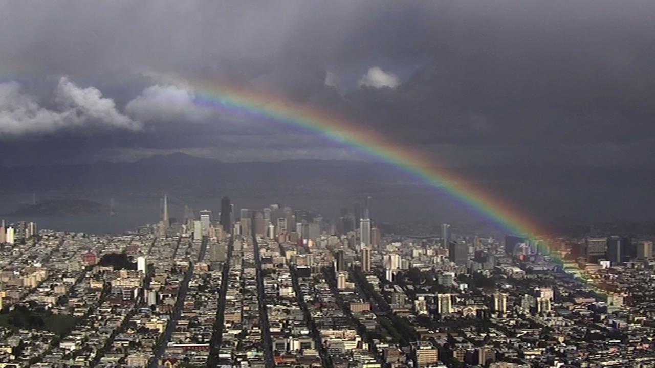 A rainbow over San Francisco on Tuesday, April 7, 2015.KGO-TV