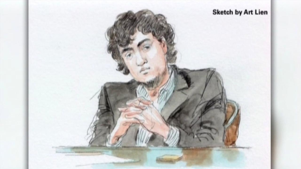 In this undated image, convicted Boston bomber Dzhokhar Tsarnaev is seen in a courtroom sketch.