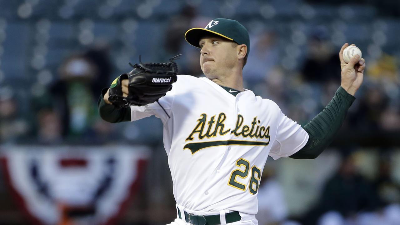 Oakland Athletics starting pitcher Scott Kazmir throws