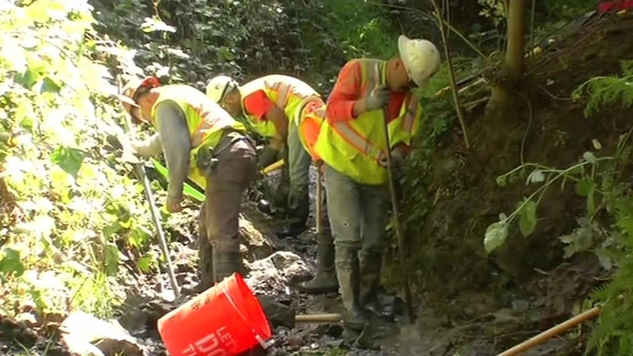 A massive cleanup is underway after a mistake by the East Bay Municipal Utility District allowed cement to flow into a creek in Oakland, Calif. on April 8, 2015.