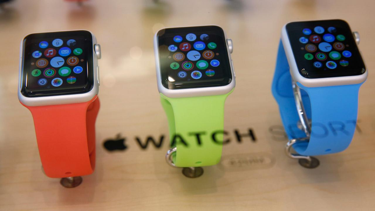 Apple Watches are displayed at an Apple Store in Hong Kong Friday, April 10, 2015.