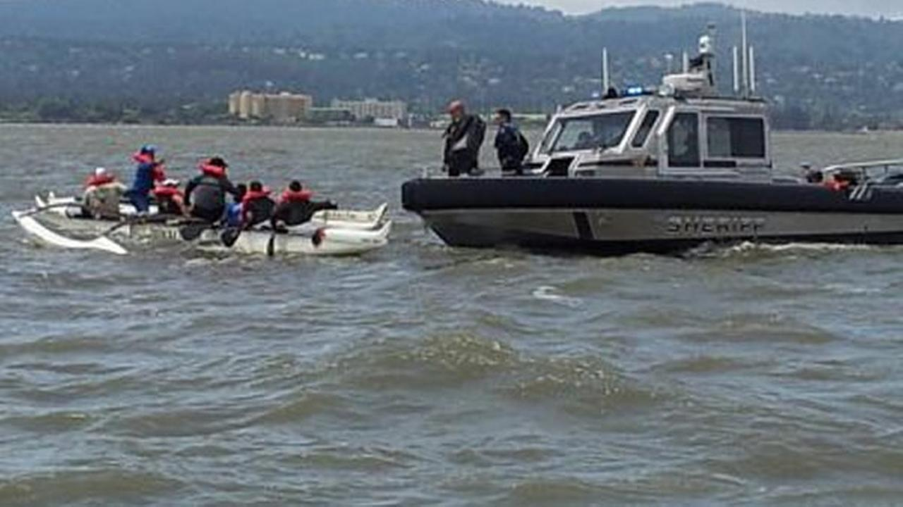 Eight boaters near Coyote Point in San Mateo County were rescued from a sinking canoe Saturday afternoon.