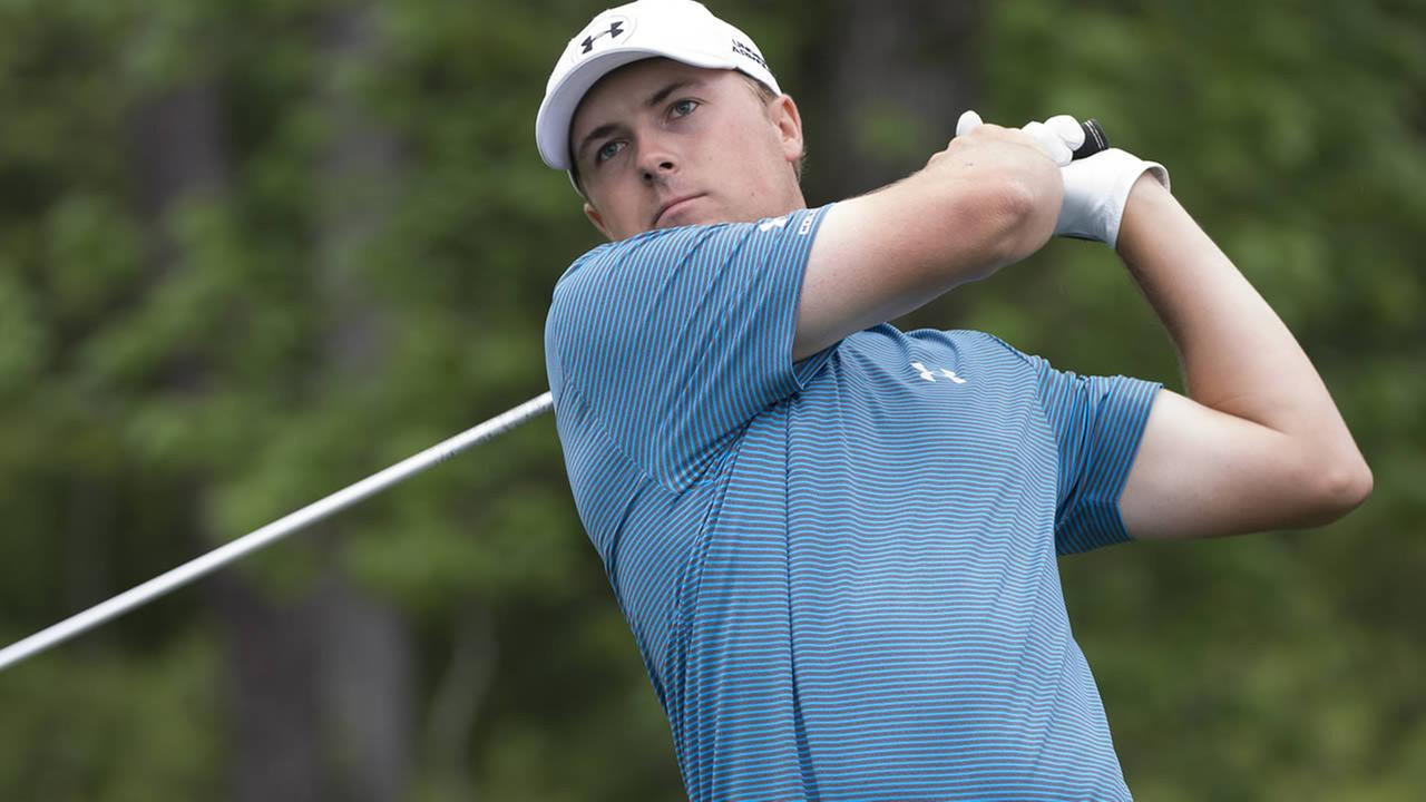 Jordan Spieth watches his tee shot on the 13th hole in the final round of the Houston Open golf tournament Sunday, April 5, 2015, in Humble, Texas. (AP Photo/George Bridges)