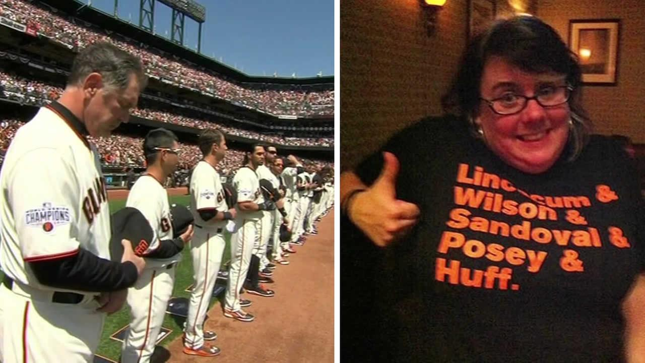 The San Francisco Giants honored 42-year-old Bridget Klecker at their home opener at AT&T Park on April 13, 2015.