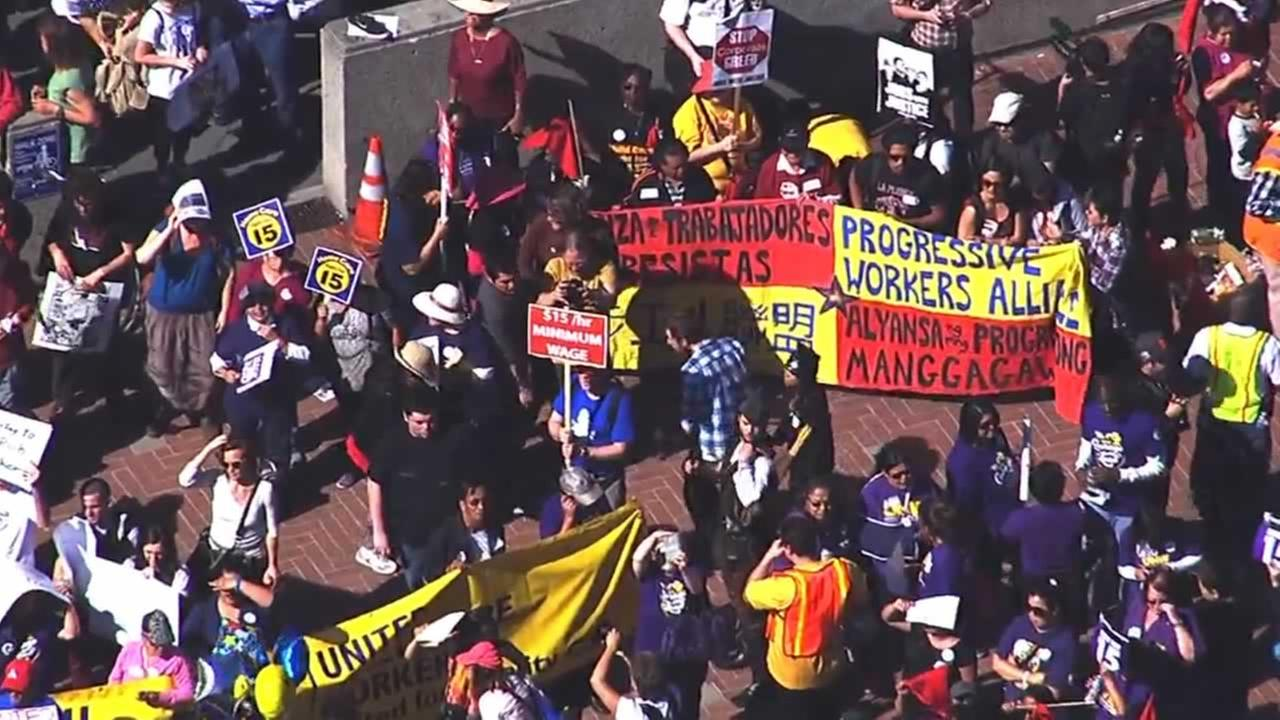Demonstrators rallying for a wage hike for fast food workers gathered at Sproul Plaza in Berkeley, Calif. on Wednesday, April 15, 2015.KGO-TV