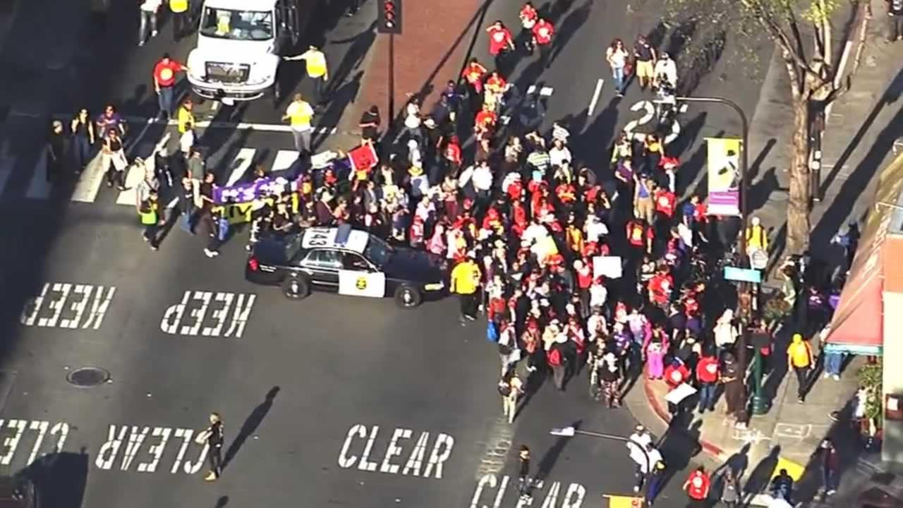 Demonstrators rallying for a wage hike for fast food workers march through Berkeley, Calif. On Wednesday, April 15, 2015.KGO-TV