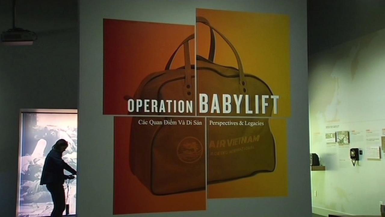 A sign for the Operation Babylift exhibit in San Franciscos Presidio is seen on April 16, 2015.