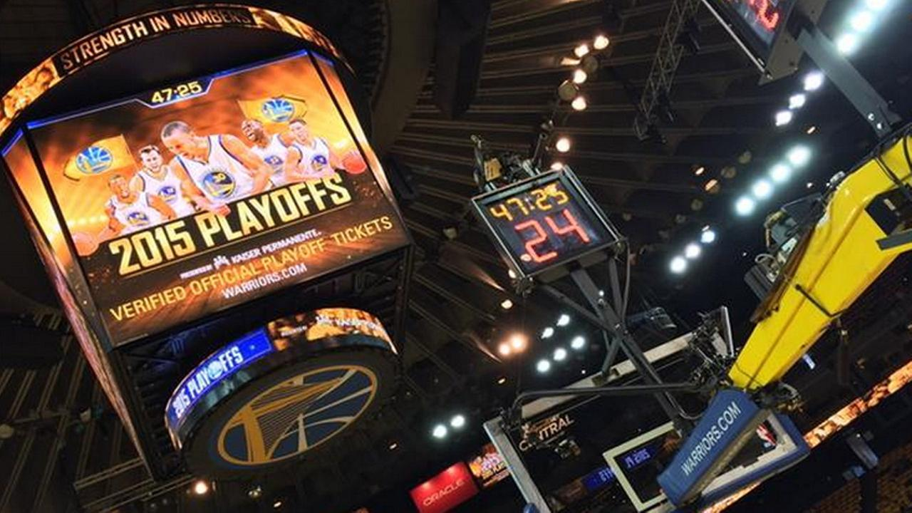 Oracle Arena before New Orleans Pelicans vs. Golden State Warriors game on April 18, 2015.