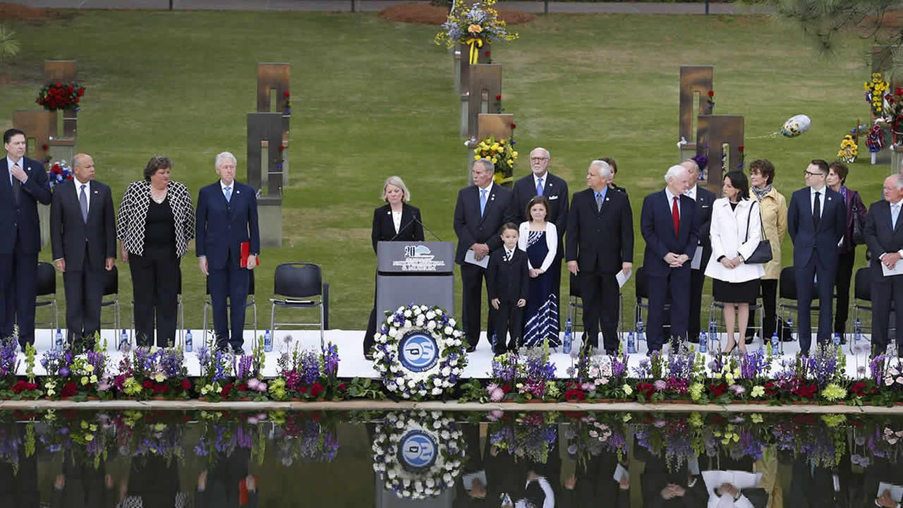Ceremonies commemorate the 20th anniversary of the Oklahoma City bombing, at the Oklahoma City National Memorial, in Oklahoma City, April 19, 2015. (AP Photo/Sue Ogrocki)