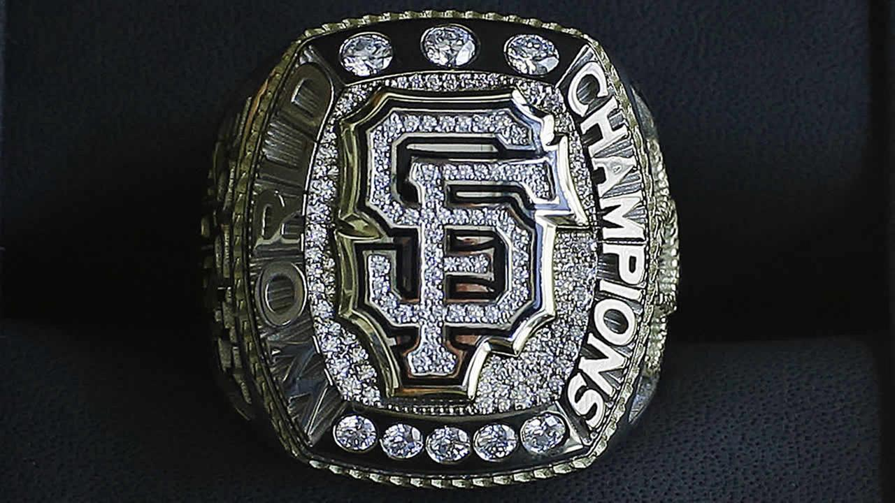 The 2014 World Series championship ring belonging to San Francisco Giants manager Bruce Bochy is displayed on Saturday, April, 18, 2015, in San Francisco. (AP Photo/Ben Margot)