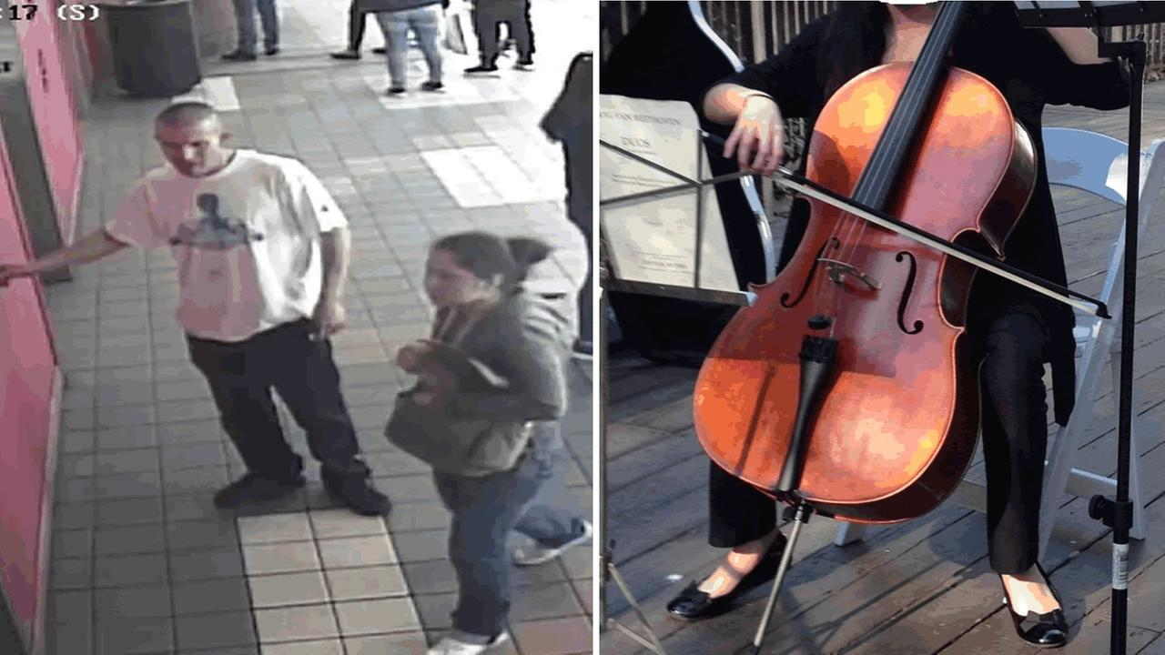 Surveillance video captured two theives allegedly burglarizing a car in San Francisco and stealing a teenagers rare cello.